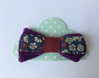 knit purple and floral fabric hair clip