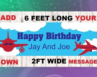 Airplane Party Banner - Happy Birthday Banner - Custom Banner - Airplane Decorations - Airplane