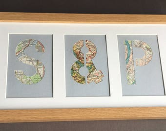 Small triptych personalised map initial picture - map and travel gift