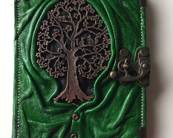 Leather bound book green tree