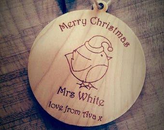 Personalised Teacher Christmas Tree Decoration, Teacher gift