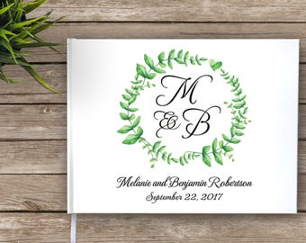 Monogram Wedding Guest Book, Wreath, Floral Wreath, Garden Wedding Guestbook, Custom Guest Book, Personalized Guest Book, green, white