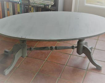 Shabby-Chic Painted Oval Coffee Table.