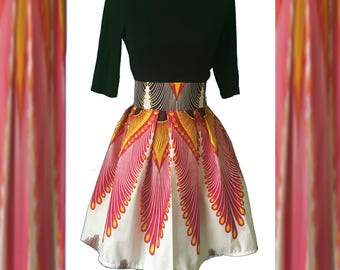 Pleated Ankara Mini Skirt. African Print Women's Clothing. High Waisted Skirt