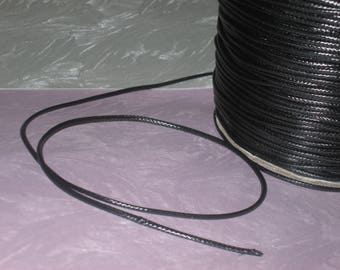 5 m of black waxed cord 1.5 mm in diameter