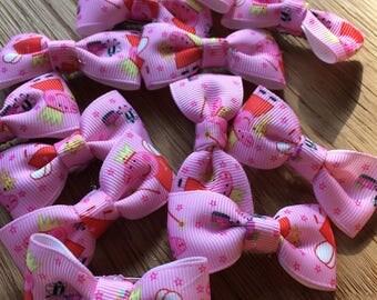 Peppa pig hair bow clips