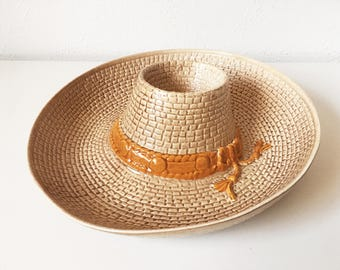 Vintage Cowboy Hat Chip and Dip Serving Tray + Brown Orange + Texas Western Country Southwest + Boho Bachelorette Party + Made in USA