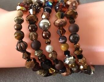 Brown copper memory wire bracelet.  Copper memory wire, brown cuff bracelet, beaded, five coil bracelet.