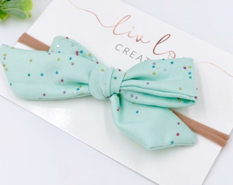 Baby Girl pinwheel Bow - Nylon Headbands - Hair clip - Infant / Toddler /  Fabric Hair Bows / Clips - sprinkles -  mint confetti