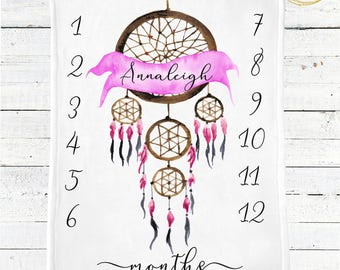 Milestone Blanket Girl / Dreamcatcher Baby Blanket / Boho Baby Girl Blanket / Boho Nursery Bedding / Photo Prop Blanket / Boho Baby Bedding