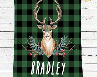 Green Buffalo Plaid Blanket / Personalized Baby Blanket / Receiving Blanket Personalized /Buffalo Check Baby Blanket / Baby Shower Gift Boy