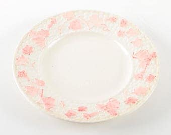 Portugal Pottery / Vintage White Plate with Pink Flowers / Made in Portugal