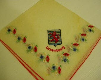 Luxembourg Hand Embroidered Hankie, Vintage Linens