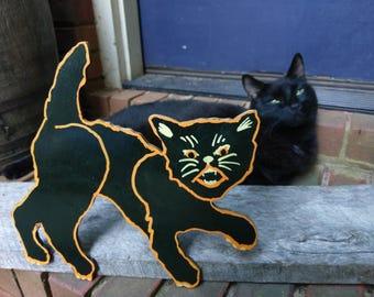 Retro Halloween Cat Wood Cutout