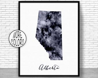 Alberta Print Alberta Art Print Watercolor Map Alberta Map Print Map Painting Map Artwork Office Decorations Country MapGift for Women