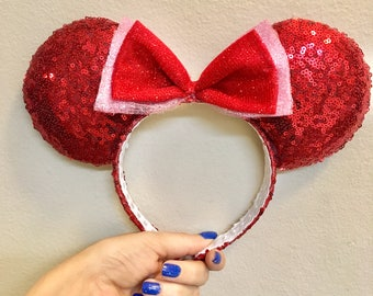 Sparkly Red Valentines Mouse Ears