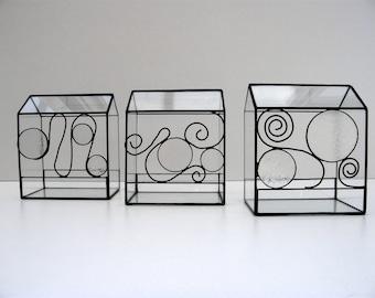 Terrarium, mini glass - tiffany stained glass, stained glass terrarium technique