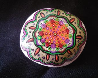 Painted mandala flower purple gold Pebble paperweight