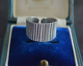Diamond Cut Open Back Sterling Silver Ring, Full UK Hallmarks,Size M,925