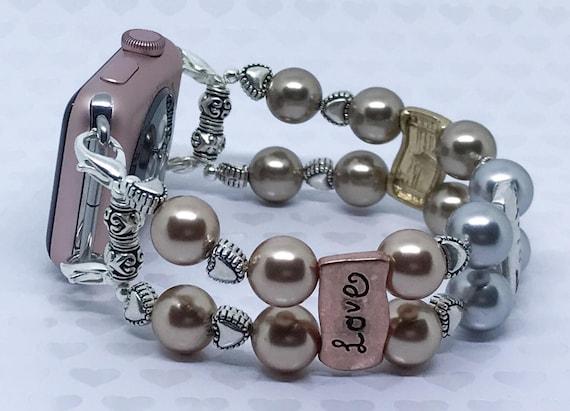 """Apple Watch Band, Women Bead Bracelet Watch Band, iWatch Strap, Apple Watch 38mm, Apple Watch 42mm, Love Faith Hope Faux Pearl 7 3/4""""-8 """""""