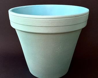 "Hand Painted Terra Cotta 6 Inch Flower Pot   Two Tone: Pearl Sea Mist & Satin Aqua   3"" Base / 6"" Top / 5"" Height   Garden / Home Decor"