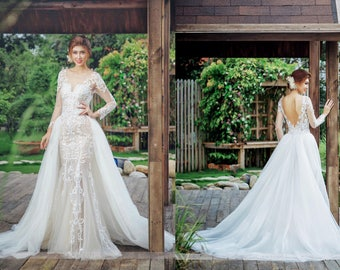 Detachable skirt etsy detachable skirt overlay custom bridal overskirt tulle bridal overskirt detachable overskirt tulle junglespirit Gallery