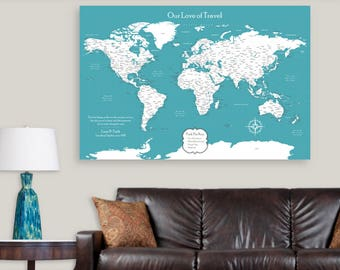 Travel Gifts for Couples Travel Map Canvas Push Pin Map Large Travel Map of the World Map Framed Push Pin Map with Frame Travel Poster Him