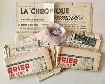 Paris Ephemera- Vintage Newspaper -Craft Paper