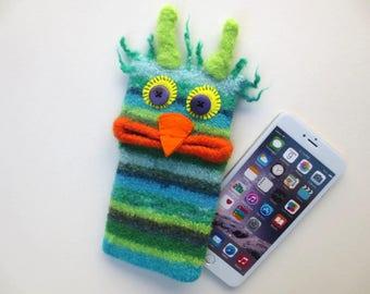 "Smartphone Monster ""Kurt"", felted, cell phone pocket, sleeve, iPhone 6 plus, mobile monster, felt, wool, case, felted, edge Galaxy S 6 +."