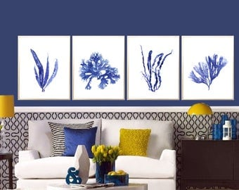 Seaweed art print Set of 4 Seaweed painting Indigo Seaweed decor Seaweed poster Blue Seaweed Nautical decor Seaweed decor Beach house decor