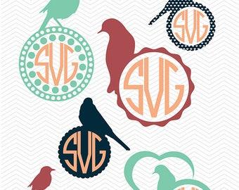 Birds SVG Cut Files - Monogram Frames for Cut Machines, Sparrow Silhouette Monogram, SVG Bundle,  Birds Designs