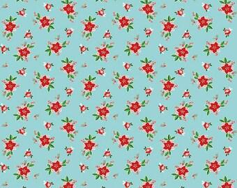 Riley Blake - Pixie Noel - Pixie Floral Aqua by Tasha Noel - 100% Cotton