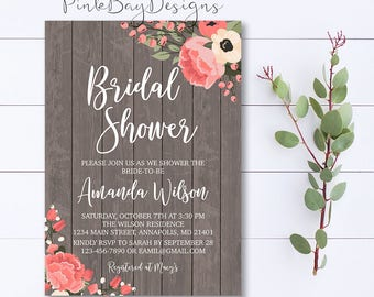 Rustic Floral Bridal Shower Invitation, Rustic Bridal Shower Invitation, Wood Floral Invite, Floral Bridal Shower Invite, Rustic Invite