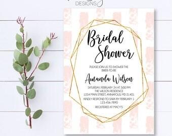 Blush Bridal Shower Invitation, Geometric Bridal Shower Invitation, Modern Bridal Shower Invite, Gold Bridal Shower Invite, Bridal Shower