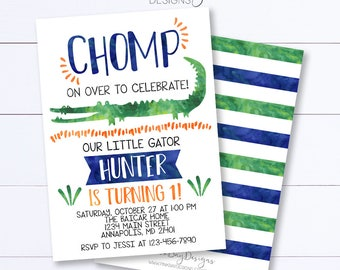 Alligator Birthday Invitation, Alligator Invitation, Gator Party, Alligator Birthday, Birthday Party Invite, Boy Birthday, Gator Invitation