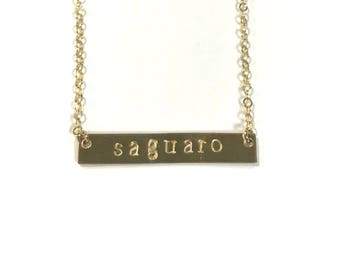 Hand Stamped Gold Fill Bar Necklace