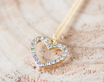 Zirconia 24k Gold Heart Charm Necklace Swarovski Crystal Heart Pendant Romantic Gift For Her Valentine Jewelry Birthday Gift for Wife