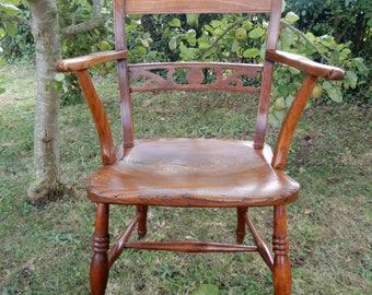 Circa 1860 elm & ash East Anglia knife-back Elbow Chair