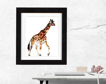 art, giraffe, original, paintings, original art, gift, giraffe painting, wall art, decor, spirit, totem, animal, wild, saltwatercolors