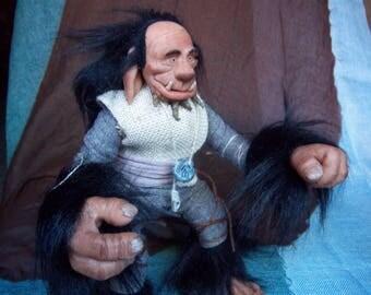 Snowman fantasy Troll / troll sculpture / art ooak doll / mascot magic / halloween trolls