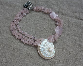 natural seashell necklace and Rose Quartz