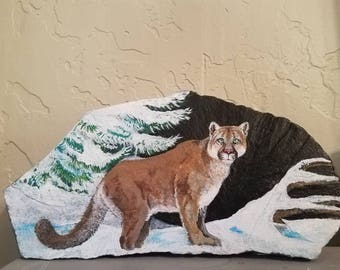 Mountain Lion in Snow Painting on Rock
