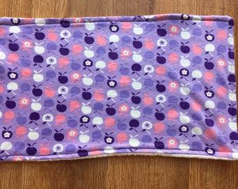 Baby Burp Cloth - Purple & Pink Apples