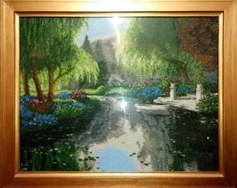 The picture is embroidered with beads, summer outdoor,Landscape, autumn, gift for her,mother, sister, wall art, summer party