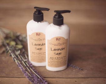 Lavender Sage Hand & Body Lotion - Moisturizing Lotion - Handmade Lotion - Natural Lotion - Hand Lotion - Body Lotion - Thick  Lotion