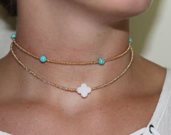 Pearly Blue and Gold Clover Choker