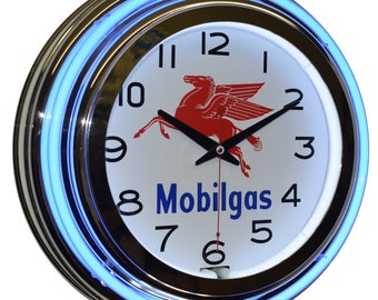"Mobilgas Pegasus Logo 15"" Double Neon Advertising Clock Garage Man Cave Decor"
