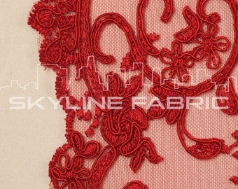 Red Floral Lace Fabric By The Yard