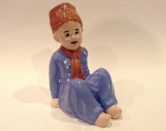 Vintage 1960 Signed Reproduction of The little Dutch Boy- Piano Baby Ceramic Figurine Originally Created by (German) Gebruder Heubach