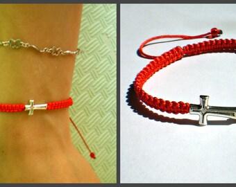 Red bracelet Cross Red String Bracelet, Red String Kabbalah Bracelet Red amulet Braided bracelet buddhist bracelet yoga bracelet amulet